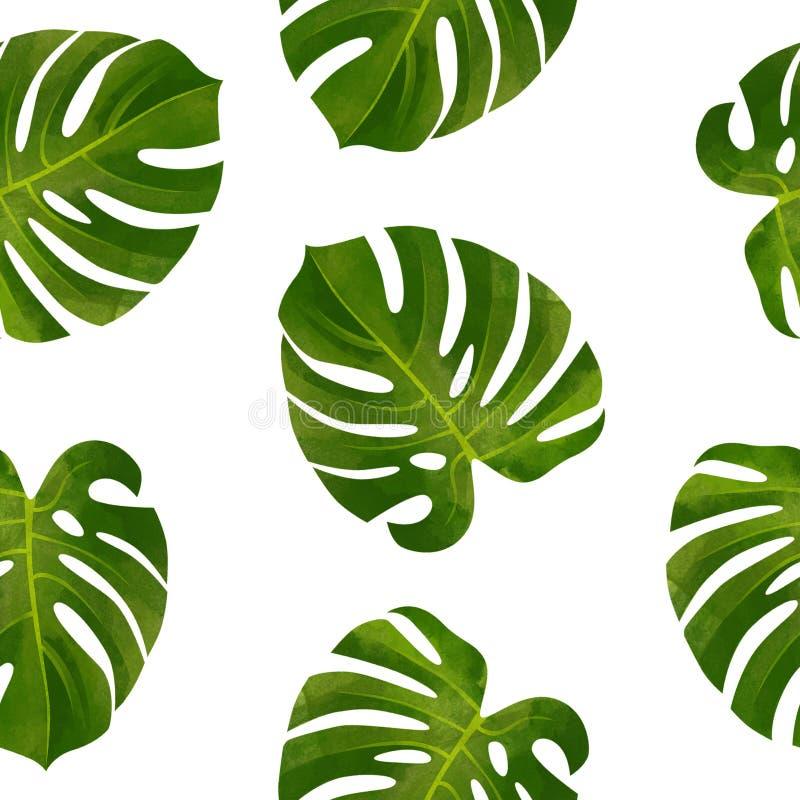 Modello senza cuciture tropicale con le foglie di Monstera Illustrazione botanica alla moda royalty illustrazione gratis