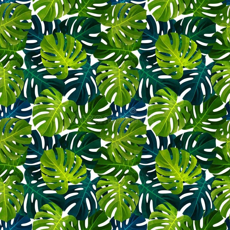 Modello senza cuciture tropicale con le foglie di Monstera Illustrazione botanica alla moda illustrazione vettoriale