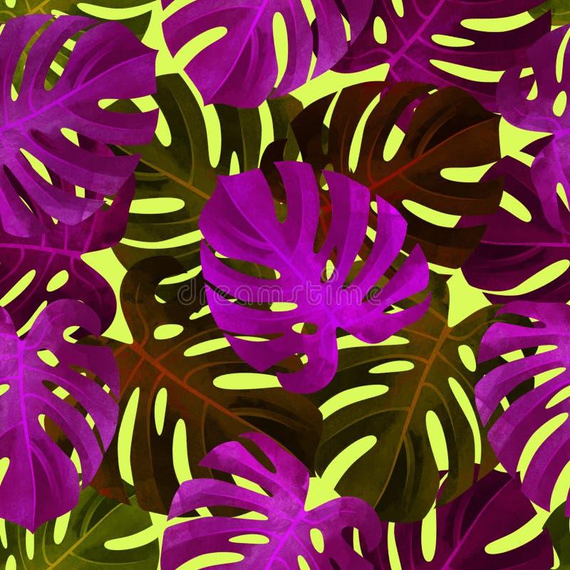 Modello senza cuciture tropicale con le foglie variopinte di monstera Fondo alla moda illustrazione vettoriale