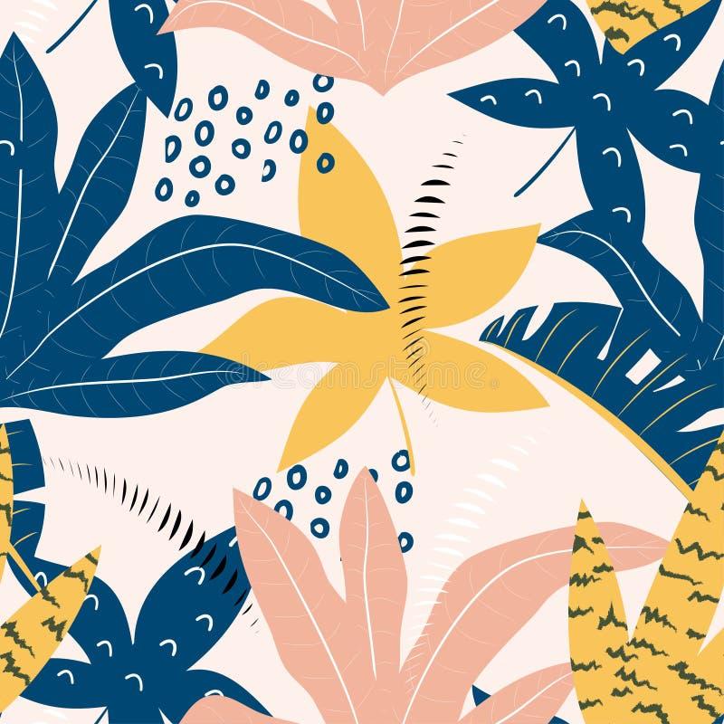 Modello senza cuciture tropicale con le foglie variopinte su fondo pastello Disegno di vettore Stampa piana della giungla Priorit illustrazione vettoriale