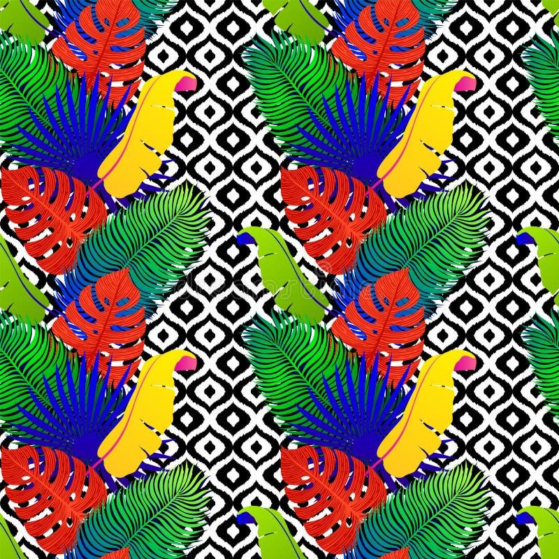 Modello senza cuciture tropicale con le foglie vive esotiche su fondo tribale in bianco e nero Monstera, palma, foglie della bana royalty illustrazione gratis