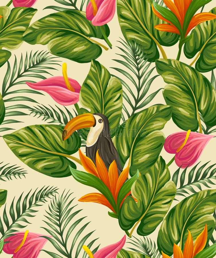 Modello senza cuciture tropicale con un uccello immagine stock