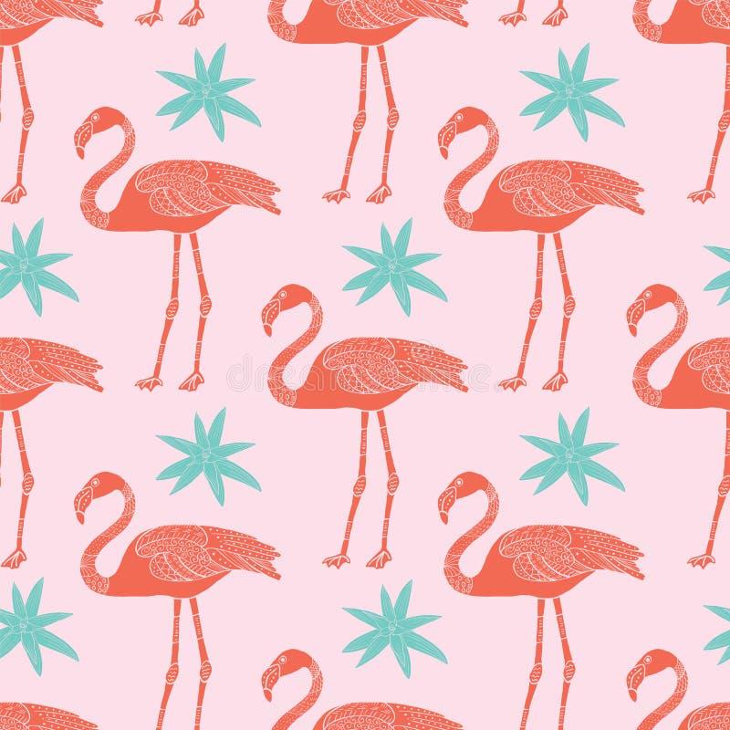 Modello senza cuciture tropicale dei fenicotteri e dei fiori di vettore su fondo rosa royalty illustrazione gratis