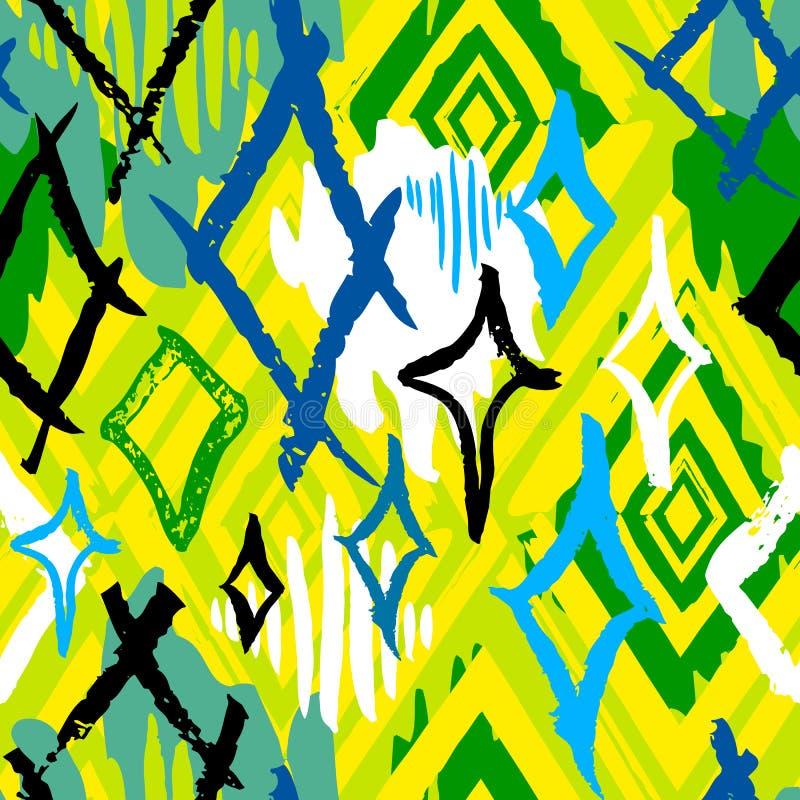 Modello senza cuciture tropicale del batik esotico etnico Coroful astratto royalty illustrazione gratis
