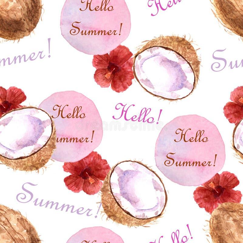 Modello senza cuciture tropicale dell'acquerello con la noce di cocco ed il testo su un fondo bianco illustrazione di stock