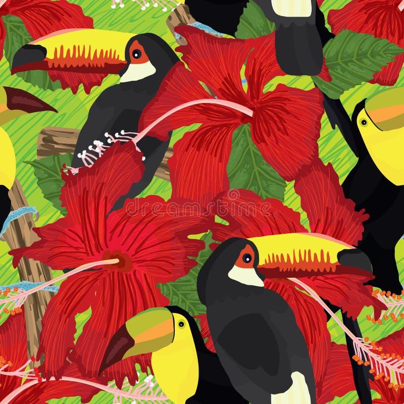 Modello senza cuciture tropicale di rosa dell'ibisco del tucano illustrazione vettoriale