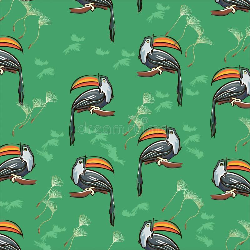 Modello senza cuciture tropicale esotico di estate con i tucani e le angurie Illustrazione d'avanguardia, stampa del tessuto, car illustrazione di stock