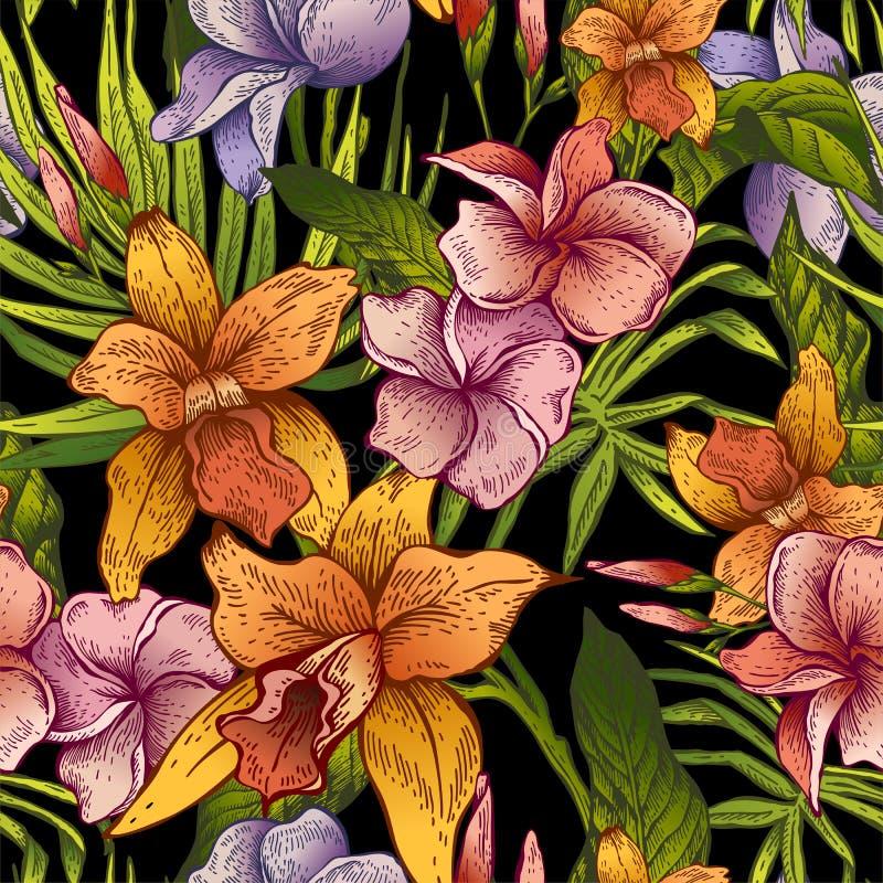 Modello senza cuciture tropicale floreale d'annata di vettore illustrazione vettoriale