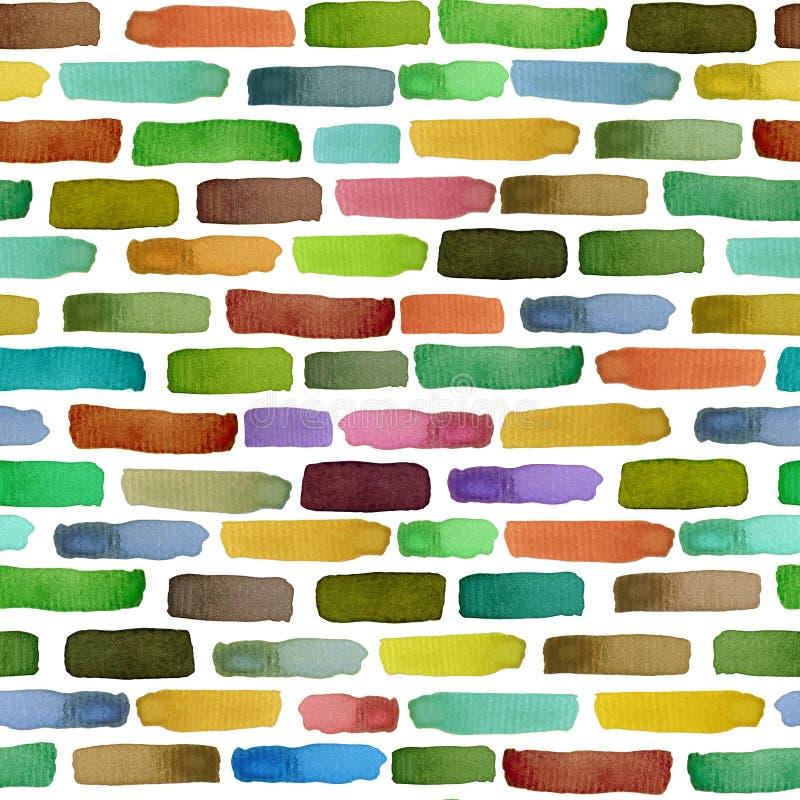 Modello senza cuciture una parete dei mattoni colorati, illustrazione dell'acquerello royalty illustrazione gratis
