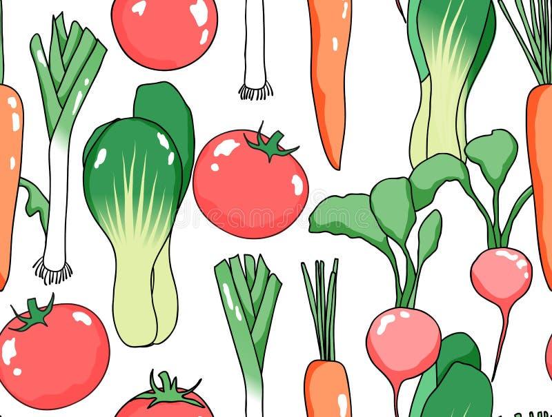 Modello senza cuciture, varie verdure illustrazione di stock