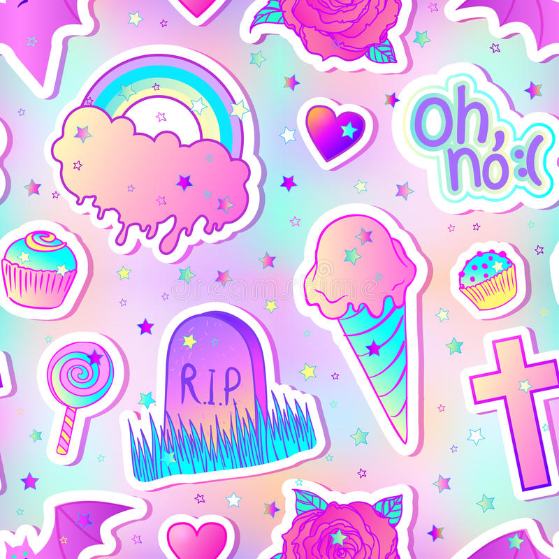 Modello senza cuciture variopinto: caramelle, dolci, arcobaleno, gelato, t illustrazione di stock
