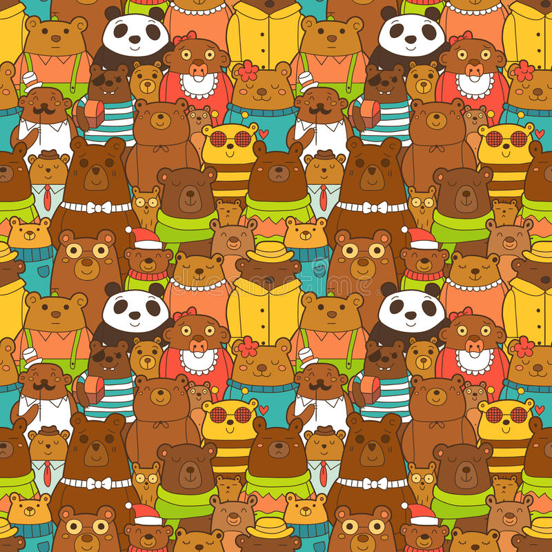 Modello senza cuciture variopinto con gli orsi bruni divertenti illustrazione vettoriale