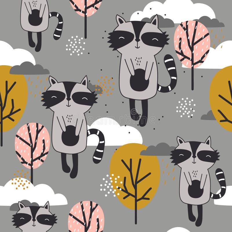 Modello senza cuciture variopinto con i procioni felici, alberi, nuvole royalty illustrazione gratis