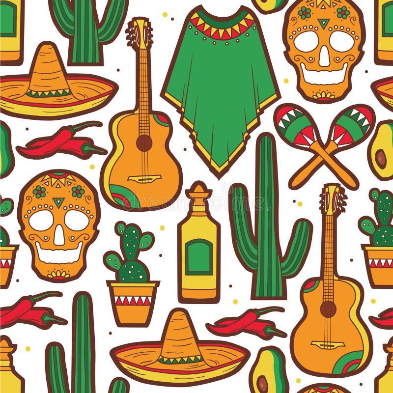 Modello senza cuciture variopinto con la raccolta dei simboli messicani illustrazione di stock