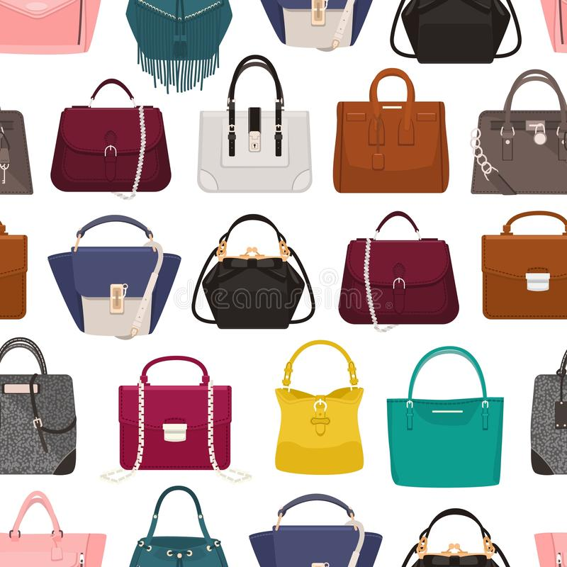 Modello senza cuciture variopinto con le borse o le borse delle donne eleganti di vari tipi su fondo bianco Contesto con illustrazione vettoriale