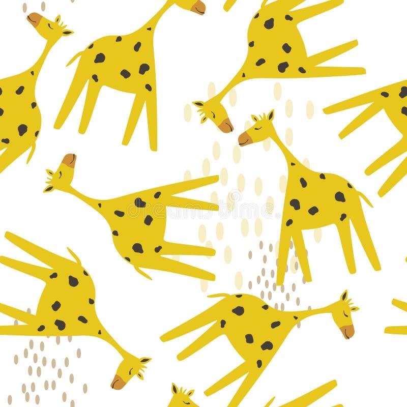 Modello senza cuciture variopinto con le giraffe felici Fondo sveglio decorativo con gli animali illustrazione di stock