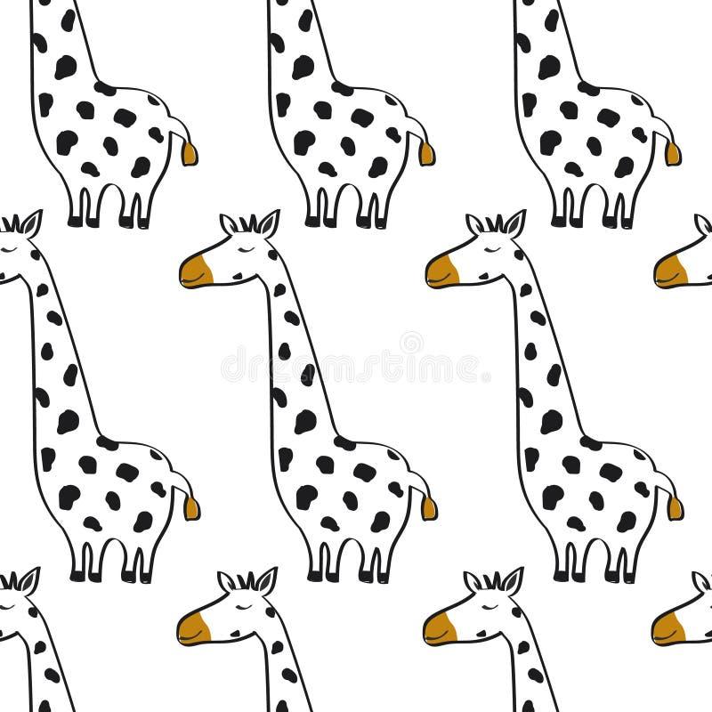 Modello senza cuciture variopinto con le giraffe sveglie Fondo decorativo con gli animali illustrazione vettoriale
