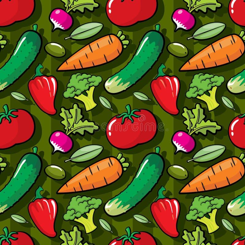Modello senza cuciture variopinto, decorazione vegetariana delle verdure della cucina illustrazione di stock