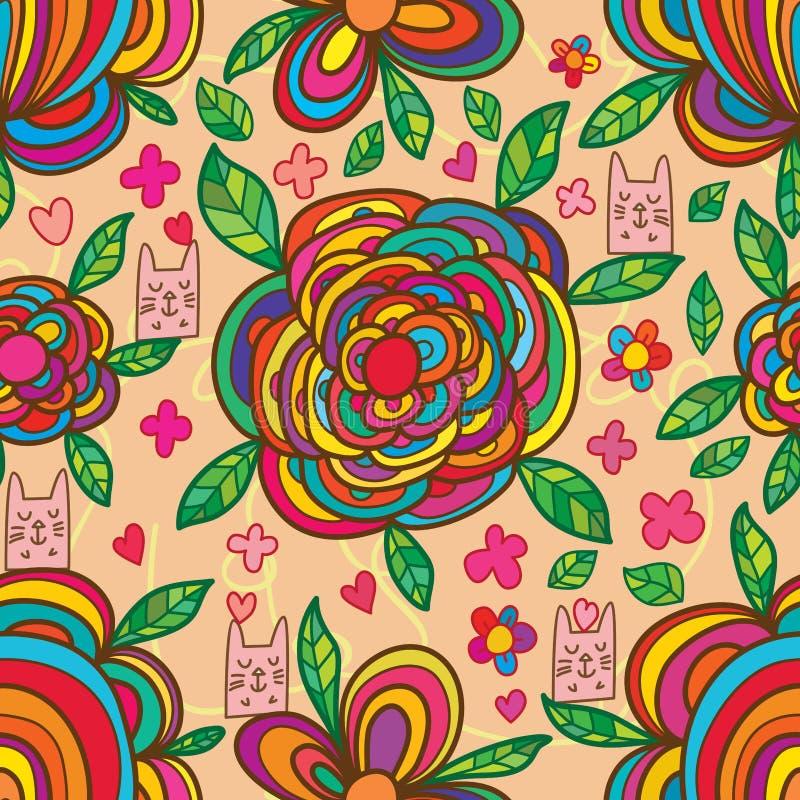 Modello senza cuciture variopinto del fiore della scatola di gatto illustrazione vettoriale
