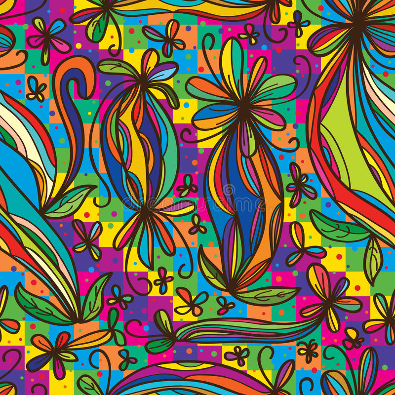 Modello senza cuciture variopinto dell'arcobaleno di tiraggio del ricciolo del fiore illustrazione vettoriale