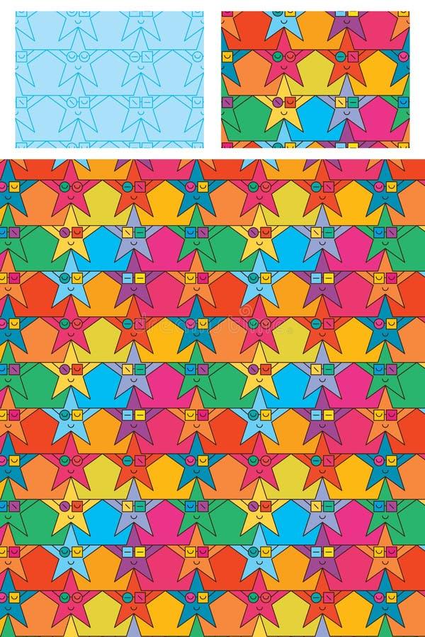 Modello senza cuciture variopinto di vetro di usura della stella illustrazione di stock