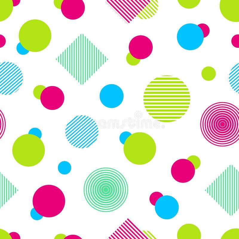 Modello senza cuciture variopinto di vettore Fondo astratto nei colori luminosi Forme geometriche colorate Struttura ripetuta mod illustrazione di stock