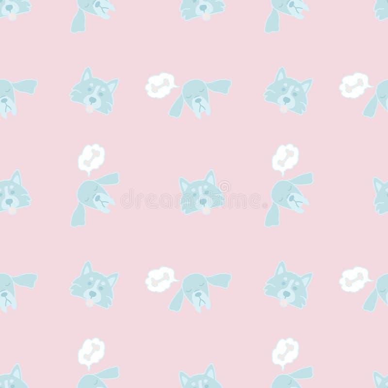 Modello senza cuciture variopinto di vettore su fondo rosa Illustrazione sveglia per la stampa sui vestiti puerili, sulla roba e  illustrazione di stock