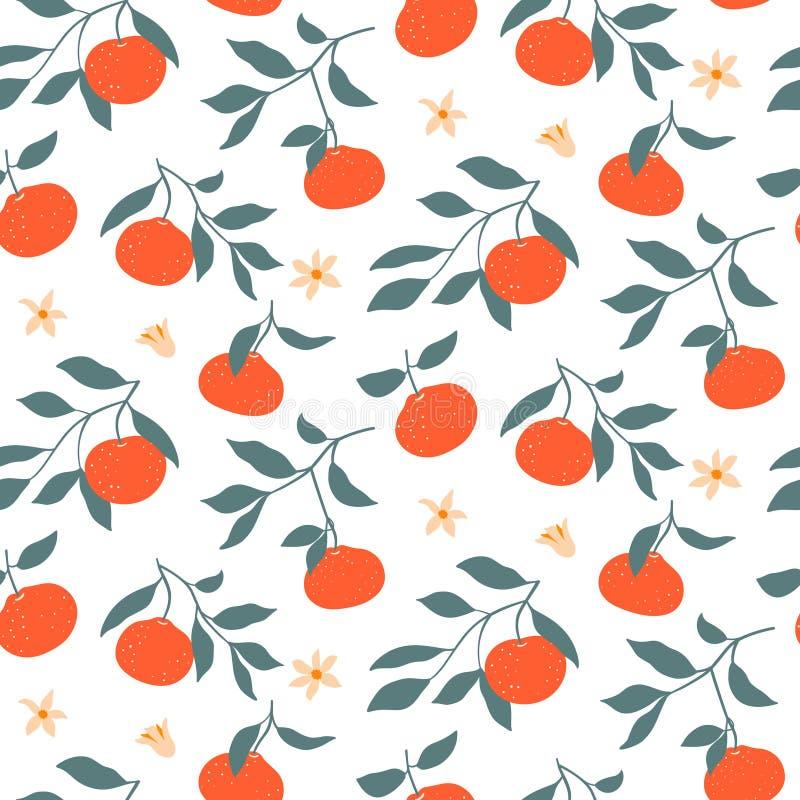 Modello senza cuciture variopinto disegnato a mano con i mandarini royalty illustrazione gratis