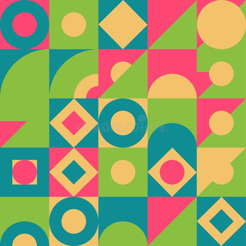 Modello senza cuciture variopinto geometrico Fondo astratto della composizione in forma per le coperture, i manifesti, le alette  illustrazione di stock