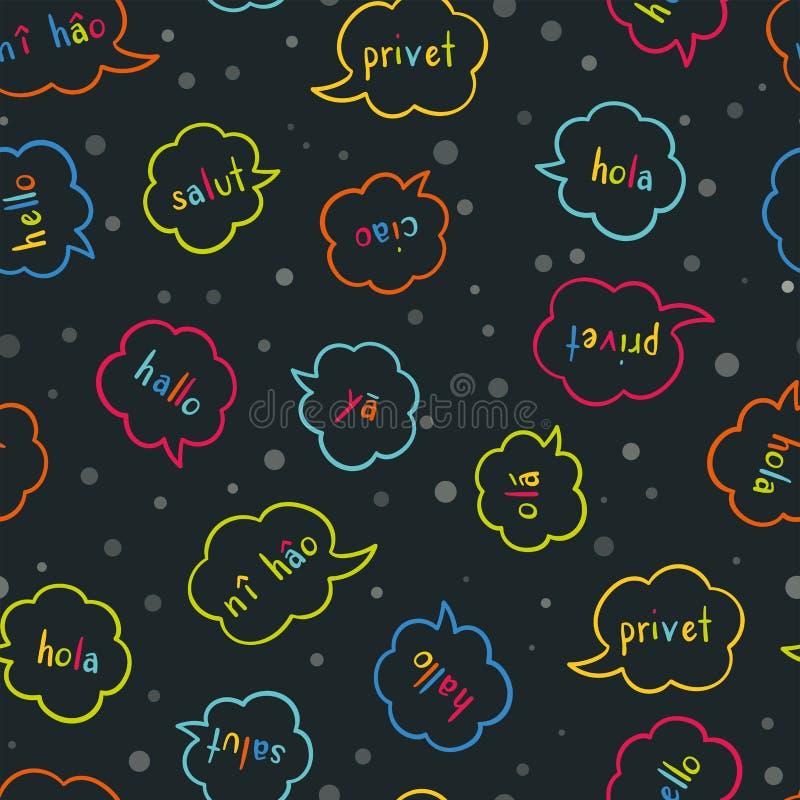 Modello senza cuciture variopinto multilingue di divertimento - accogliendo in varie lingue, conversazione, fondo di comunicazion illustrazione vettoriale