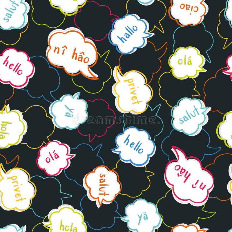 Modello senza cuciture variopinto multilingue di divertimento - accogliendo in varie lingue, conversazione, fondo di comunicazion royalty illustrazione gratis