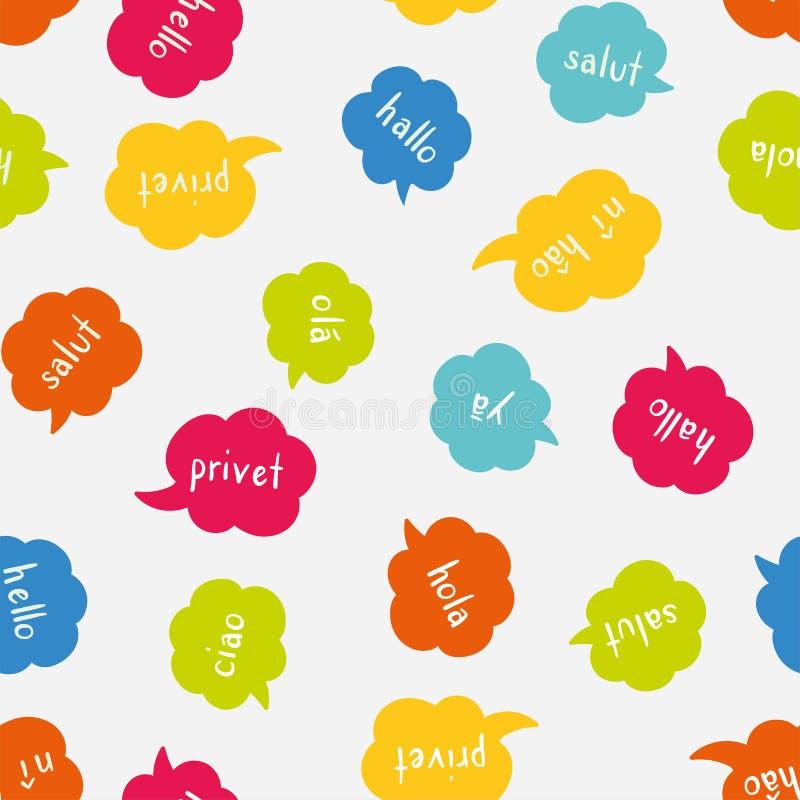 Modello senza cuciture variopinto multilingue di divertimento - accogliendo in varie lingue, conversazione, fondo di comunicazion illustrazione di stock