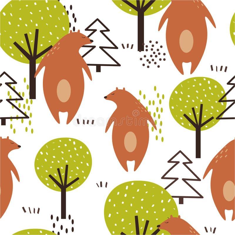 Modello senza cuciture variopinto, orsi, alberi ed abeti Fondo sveglio decorativo con gli animali e la foresta illustrazione di stock