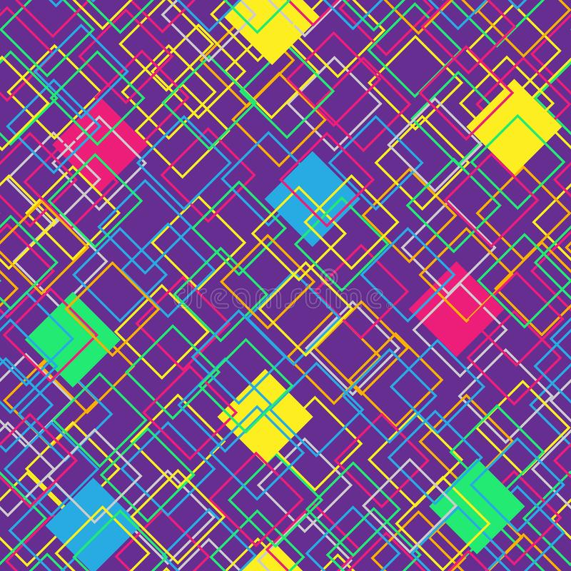 Modello senza cuciture variopinto su fondo viola Concetto moderno con i quadrati di colore Figure geometriche astratte Vettore illustrazione vettoriale