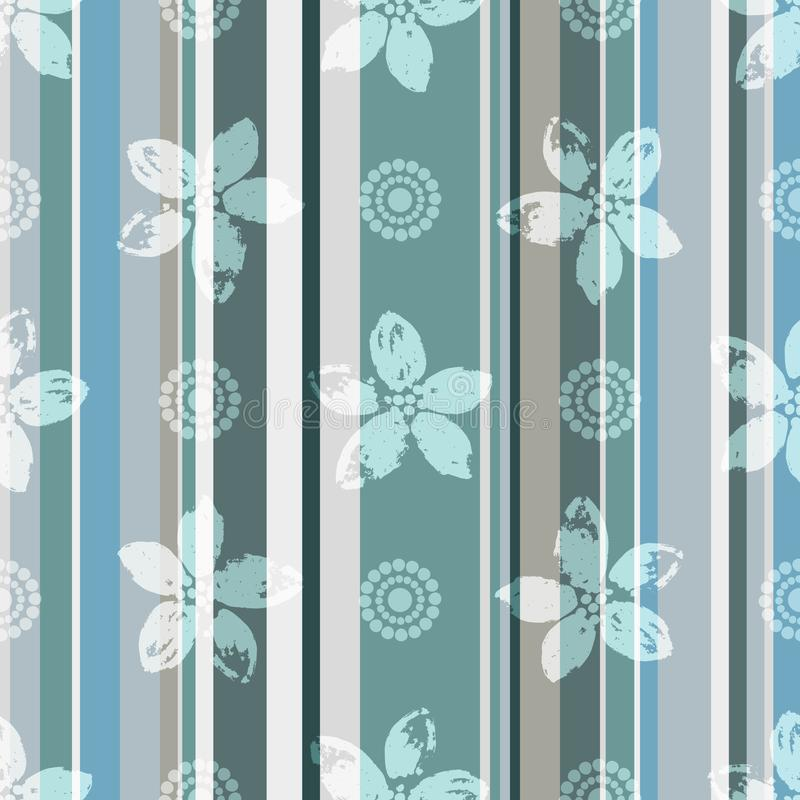 Modello senza cuciture verde-grigio-blu elegante con i fiori royalty illustrazione gratis