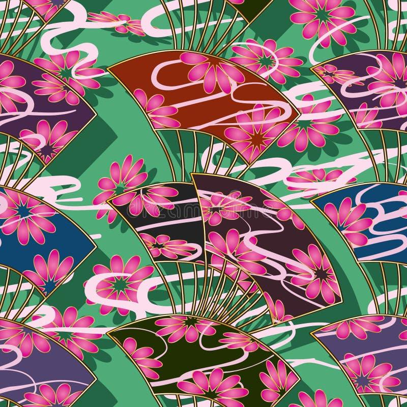 Modello senza cuciture verticale di stile del fiore del fan del Giappone illustrazione di stock
