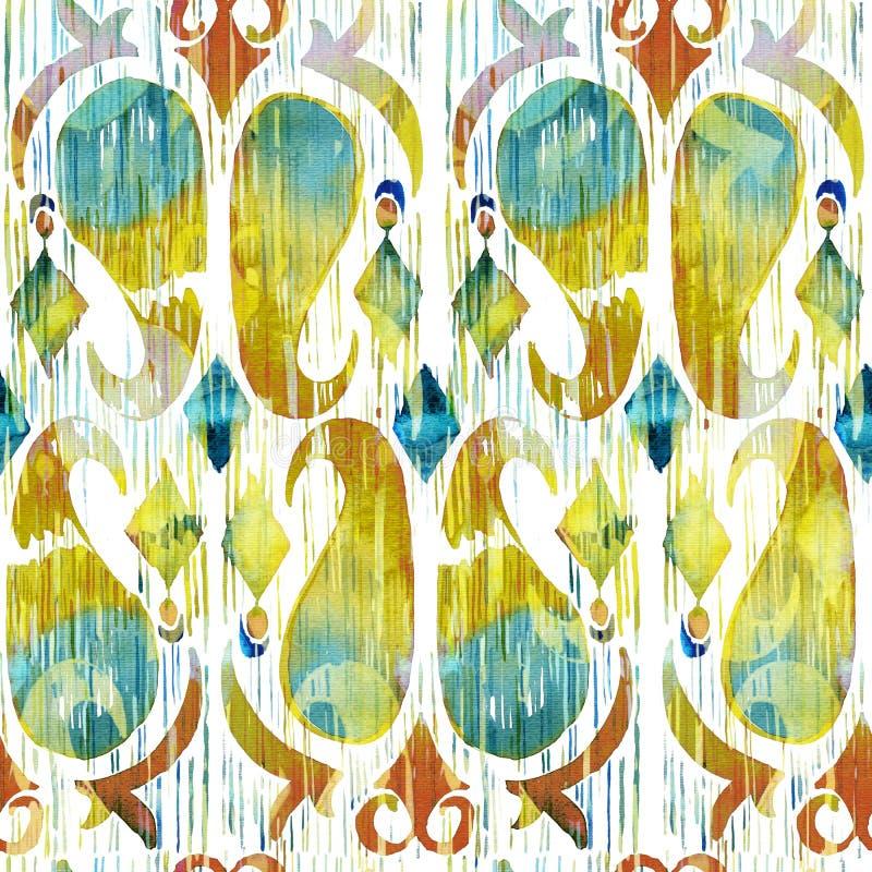 Modello senza cuciture vibrante del ikat verde dell'acquerello Tribale d'avanguardia nello stile acquerello Piuma del pavone illustrazione vettoriale