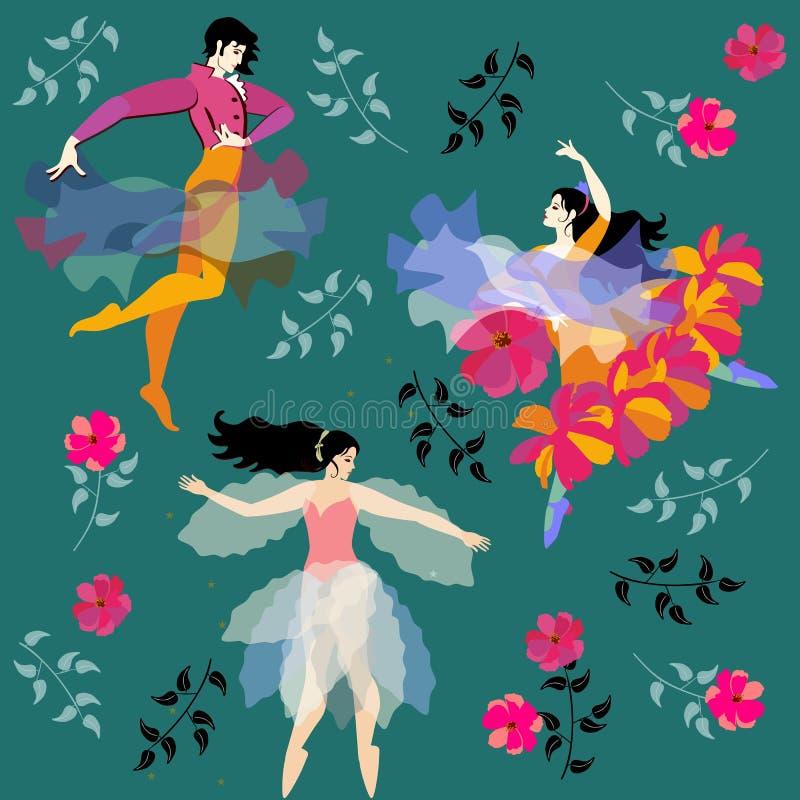 Modello senza fine con i ballerini di flamenco e una stella leggiadramente su un fondo verde nel vettore illustrazione vettoriale