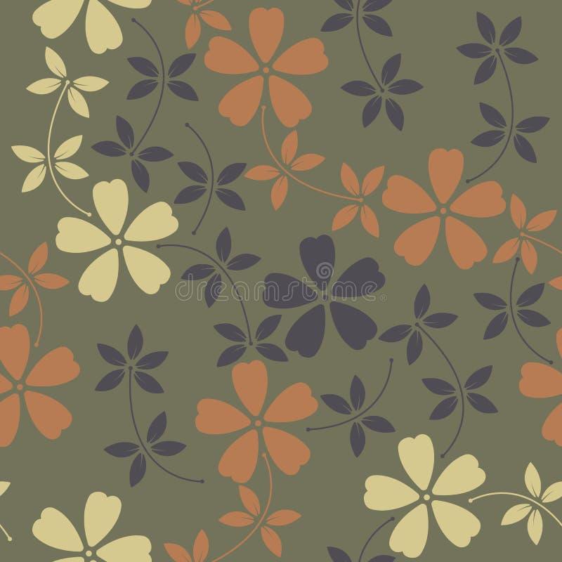 Modello senza fine con i fiori e le foglie decorativi sulla parte posteriore di verde illustrazione di stock