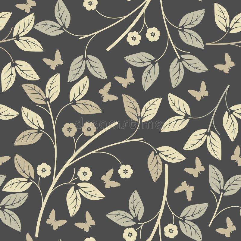 Modello senza fine con i petali e le farfalle eleganti sulla parte posteriore di grey royalty illustrazione gratis