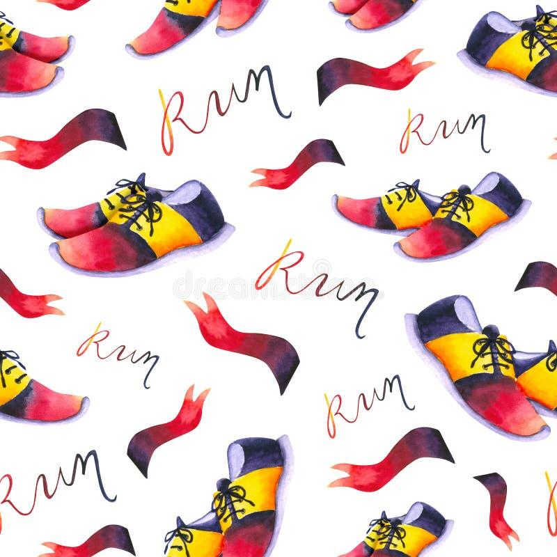 Modello senza pari con scarpe da ginnastica, bandiere, word Run Disegno a mano di impermeabilizzazione isolato su bianco Modello  illustrazione vettoriale