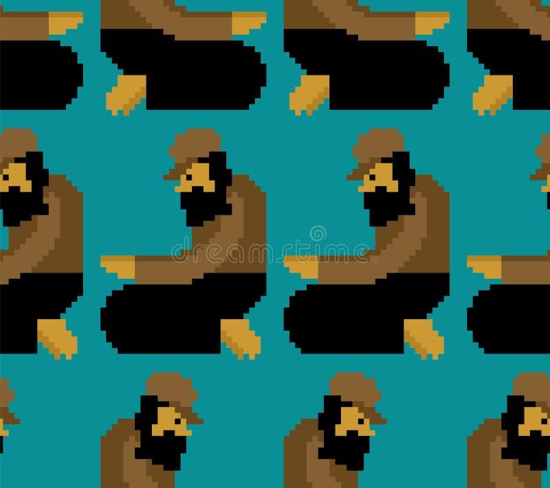 Modello senza tetto di arte del pixel Ornamento del bit dei mendicanti 8 povero digitale illustrazione di stock