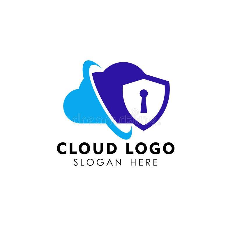 modello sicuro di progettazione di logo della nuvola desi di logo della nuvola del sistema di sicurezza illustrazione vettoriale