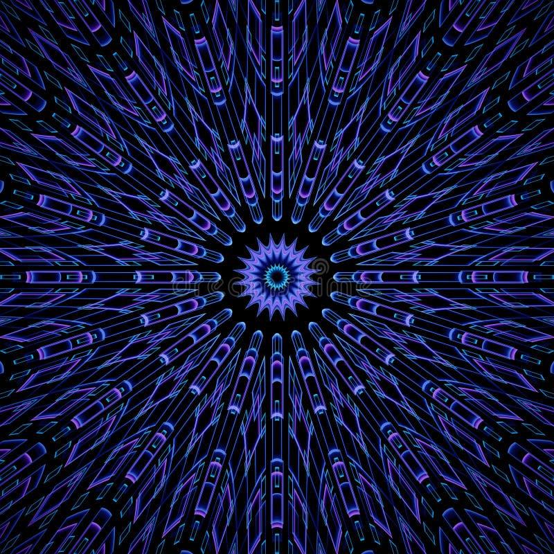 Modello simmetrico, rotondo, di frattale bello, in blu ed in porpora illustrazione vettoriale