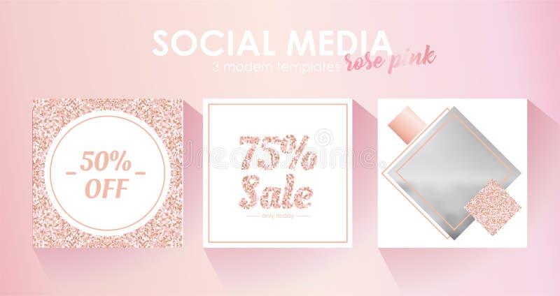 Modello sociale dell'insegna di media per il vostro blog o affare Progettazione pastello sveglia di rosa rosa royalty illustrazione gratis