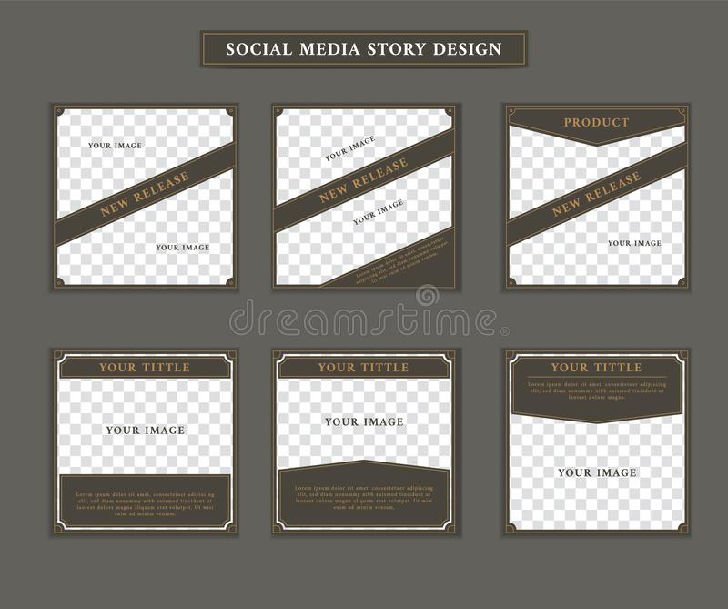Modello sociale della posta di media nel tema vittoriano di stile di retro artdeco d'annata con l'insieme del testo di titolo del royalty illustrazione gratis