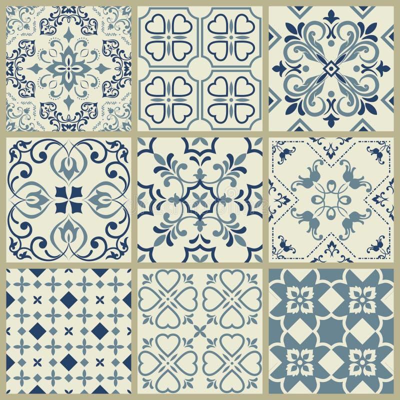 Modello spagnolo o portoghese delle mattonelle di vettore, mosaico floreale di Lisbona, ornamento senza cuciture Mediterraneo dei illustrazione di stock
