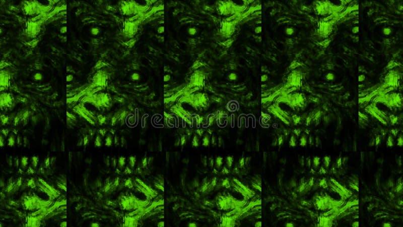 Modello spaventoso del fronte dello zombie su fondo nero royalty illustrazione gratis