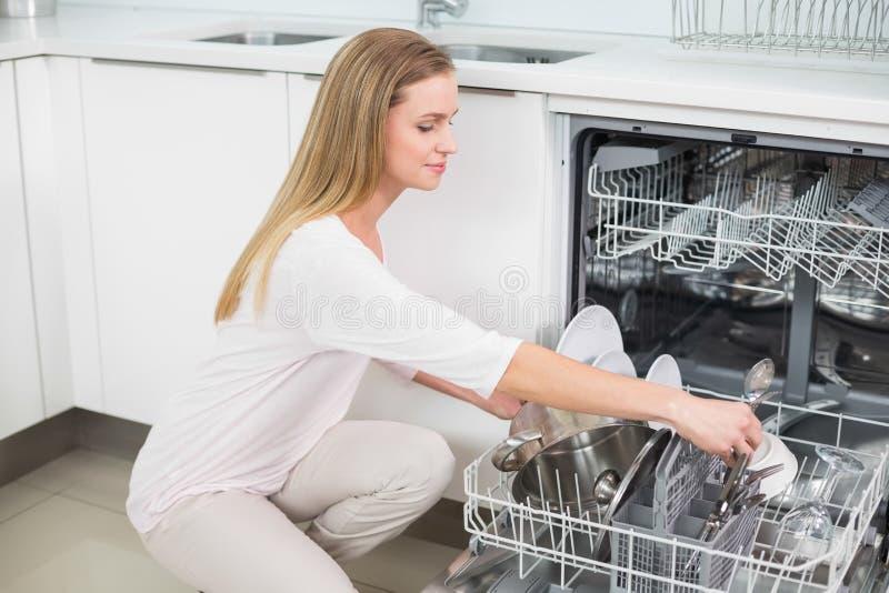 Modello splendido calmo che si inginocchia accanto alla lavastoviglie fotografia stock