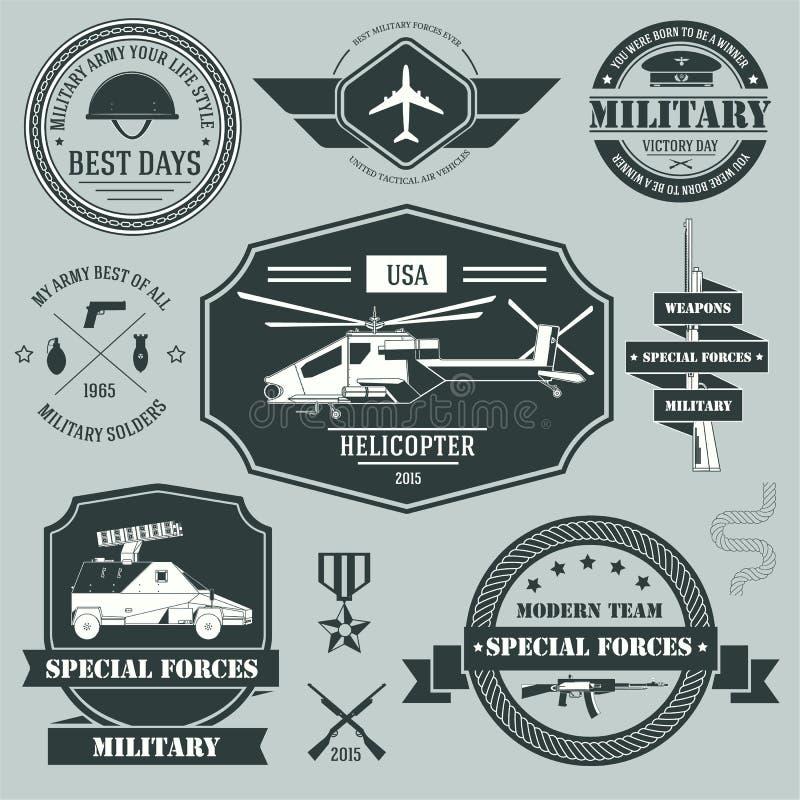 Modello stabilito dell'etichetta dei militari dell'elemento dell'emblema per illustrazione di stock